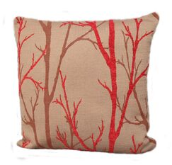 Woodlands Throw Pillow Color: Coral / Red, Size: 24