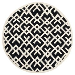 Dhurries Hand-Woven Wool Black/Ivory Area Rug Rug Size: Square 6'