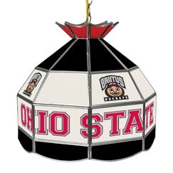 Glass 1-Light Pool Table Lights Pendant NCAA Team: Ohio State University - Brutus Buckeye