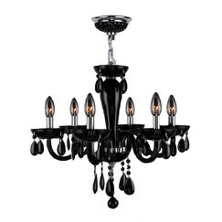 Roni 6-Light Chandelier Glass Color: Black