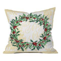 Madart Inc. Holly Wreath Throw Pillow Size: 26