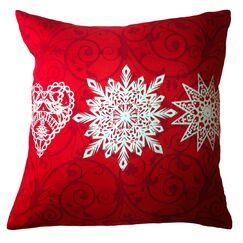 Holiday Elegance Star Heart Snowflake Silk Throw Pillow