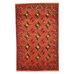 Prentice Hand-Knotted Red/Brown Area Rug
