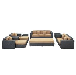 Eclipse 9 Piece Rattan Sofa Set with Cushions Color: Espresso, Fabric: Mocha