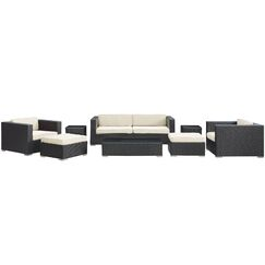 Venice 8 Piece Rattan Sofa Set with Cushions Color: Espresso, Fabric: White
