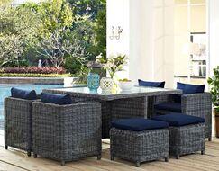Keiran 9 Piece Outdoor Patio Dining Set with Sunbrella Cushions Color: Navy