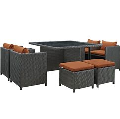 Tripp 9 Piece Dining Set with Cushion Cushion Color: Tuscan