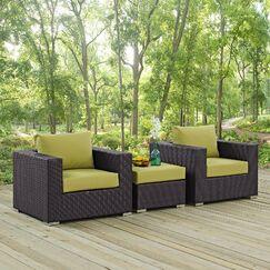 Ryele 3 Piece Rattan Conversation Set with Cushions Fabric: Peridot