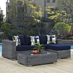 Keiran 3 Piece Sunbrella Sofa Set with Cushions Fabric: Navy