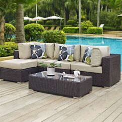 Ryele 5 Piece Rattan Sectional Set with Cushions Fabric: Beige