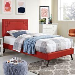 Kerley Upholstered Platform Bed Color: Azure, Size: Queen