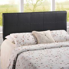 Joey Queen Upholstered Panel Headboard Upholstery: Black