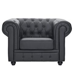 Chestfield Chesterfield Chair Upholstery: Black