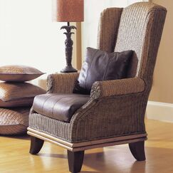 Bali Wing back Chair Upholstery: White Fabric