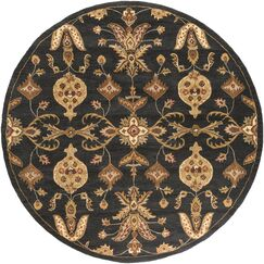 Plemmons Handmade Black Area Rug Rug Size: Round 6'