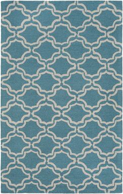 Coulombe Hand-Tufted Blue Area Rug Rug Size: Rectangle 4' x 6'