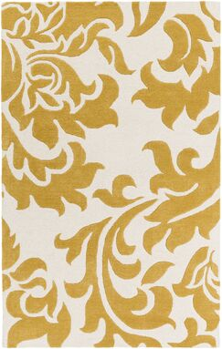 Kiesel Hand-Tufted Gold/Off-White Area Rug Rug Size: Rectangle 5' x 8'