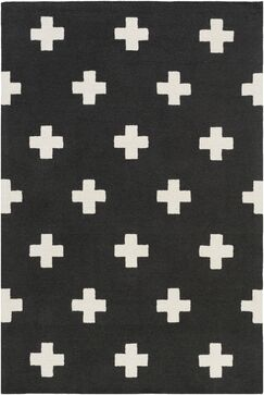 Litten Hand-Crafted Black/White Area Rug Rug Size: Rectangle 3' x 5'