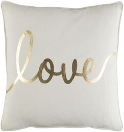 Carnell Romantic Love Cotton Throw Pillow Cover Color: White/ Metallic Gold