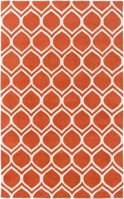 Zellner Hand-Tufted Tangerine/Beige Area Rug Rug Size: Rectangle 8' x 10'