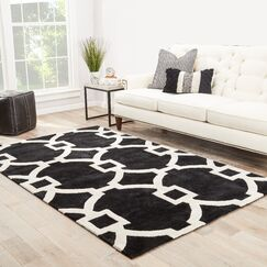 Bohara Hand-Tufted Black/White Area Rug Rug Size: Rectangle 2' x 3'