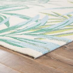 Halona Hand Hooked Green/Cream Indoor/Outdoor Area Rug Rug Size: Rectangle 7'6