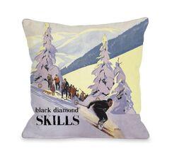 Diamond Skills Vintage Ski Throw Pillow Size: 20