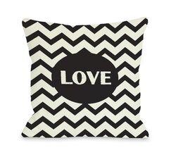 Love Chevron Throw Pillow Color: Black, Size: 16