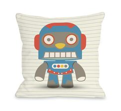 Stanley's Robot Throw Pillow Size: 16