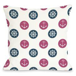 Anchor Wheel Polka Dot Throw Pillow Color: Blue, Size: 26
