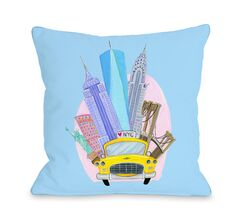 Love from NYC 11 Taxi NYC Landmarks Throw Pillow Color: Blue, Size: 16