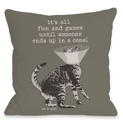 Fun and Games Throw Pillow Size: 16