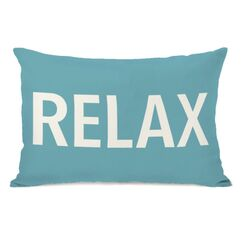 Relax Throw Pillow Color: Sky