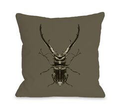 Horned Beetle Throw Pillow Size: 18