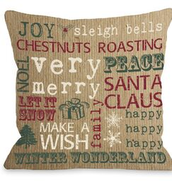 Christmas Words Paper Throw Pillow