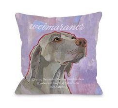 Doggy Décor Weimaraner Throw Pillow Size: 26