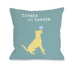 Doggy Décor Treats Not Tweets Throw Pillow Size: 20