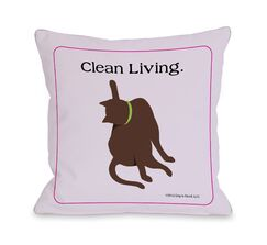Doggy Décor Clean Living Cat Throw Pillow Size: 18