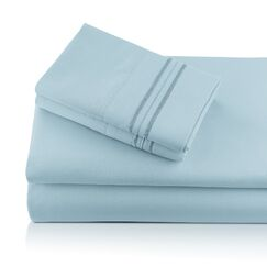 Alger Embroidered Microfiber Luxe Sheet Set Color: Sky, Size: Twin