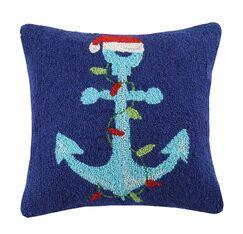 Santa Anchor Wool Throw Pillow
