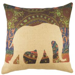 Elephant Burlap Throw Pillow