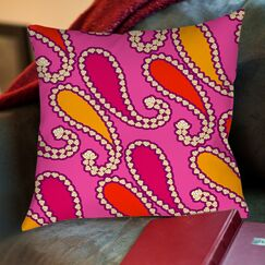 Paisley Printed Throw Pillow Color: Purple, Size: 26