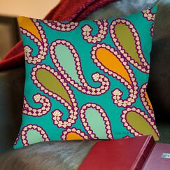 Paisley Printed Throw Pillow Color: White, Size: 26