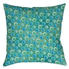 Aqua Bloom Dots Printed Throw Pillow Size: 18