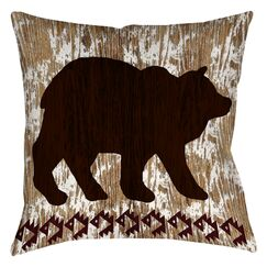 Wilderness Bear Printed Throw Pillow Size: 26