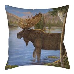 Majestic Moose Indoor/Outdoor Throw Pillow Size: 16