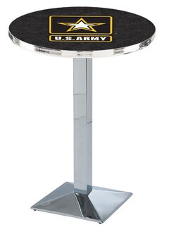 Military Pub Table Color: Chrome, Team: United States Army