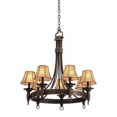 Americana 7-Light Shaded Chandelier Shade Type: Iridescent Violet, Finish: Copper Claret