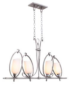 Mateo 4-Light Kitchen Island Pendant Finish: Flecked Iron, Shade Color: Matte Opal Glass