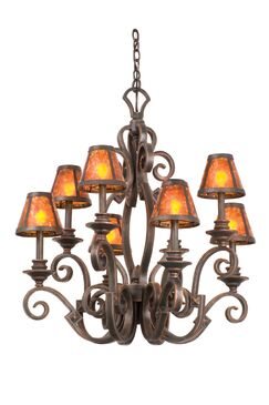 Ibiza 8-Light Shaded Chandelier Finish: Antique Copper, Shade Type: Champagne Mica